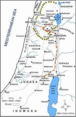 イエスがエルサレムへ行った道の地図 イエスのエルサレムへの道 地図出典:Bible Histor